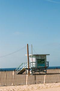 USA, California, Los Angeles, lifeguard tower on Venice Beach