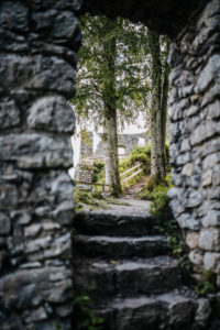 Stairs lead to the remains of the walls of the Werdenfels castle ruins, Garmisch-Partenkirchen, Bavaria