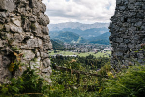 View over Garmisch-Partenkirchen from the Werdenfels castle ruins, Garmisch-Partenkirchen, Bavaria