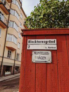 Stockholm, Sweden, walk through Södermalm, Blecktornsgränd, signpost Monteliusvagen