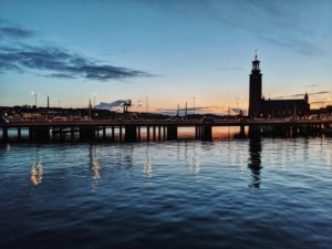 Stockholm, Sweden, silhouette of the Stockholm City Hall Stadshus at the blue hour