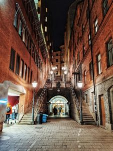 Staircase illuminated by lampposts in Tunnelgatan, Stockholm, Sweden