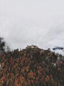 Ehrenberg ruins, fog, autumn forest, Reutte, Tyrol, Austria