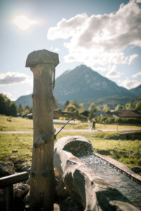 Wooden fountain, Germany, Bavaria, Garmisch-Partenkirchen