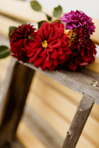 Dahlia bouquet, wooden ladder, garden bench