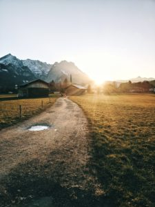 Sunset on a field track, Zugspitze, Wetterstein, Garmisch-Partenkirchen