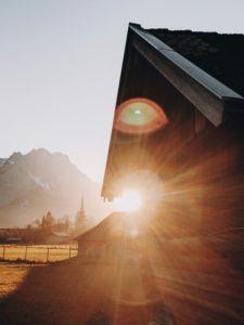 Sunset, hay barn, field, Wetterstein, Zugspitze