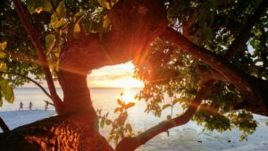 Sunset on the beach of Siquijor Island, Philippines