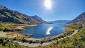 Road at the lake, Lake Hawea, along, New Zealand