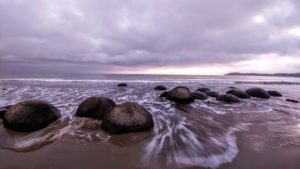 Moeraki Boulders, round stones on the beach of New Zealand