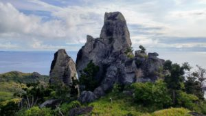 View on big rock, surrounded by meadow and bushes and sea in the background, Fiji