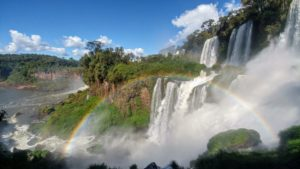View of the Iguacu Falls with rainbow, Argentina
