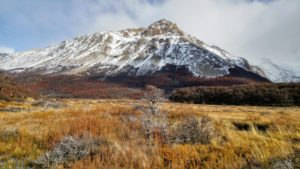 Snow-covered mountain surrounded by autumn landscape, Argentina