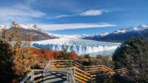 View of Perito Moreno Glacier, autumnal landscape in the foreground, El Calafate, Argentina