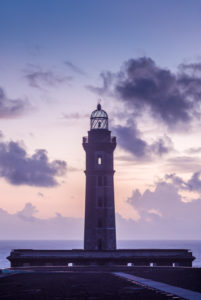 Portugal, Azores, Faial Island, Capelinhos, Capelinhos Volcanic Eruption Site, lighthouse, sunset
