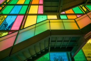 Canada, Quebec, Montreal, Palais des Congres de Montreal, convention center, colored windows