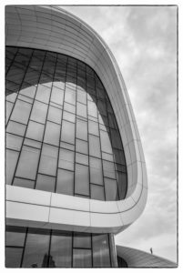Azerbaijan, Baku, Heydar Aliyev Cultural Center, building designed by Zaha Hadid, exterior with visitors, no releases