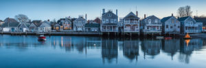 USA, New England, Massachusetts, Nantucket Island, Nantucket Town, small dory with Christmas tree by town waterfront