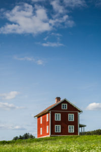 Sweden, Varmland, Marbacka, estate of first female writer to win the Noble Prize of Literature, Selma Lagerlof, red house