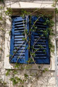 Blue Window, closed shutters, Europe, Croatia, Brac