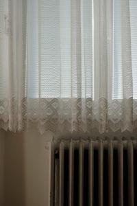 Europe, Czech Republic, Olomouc, Olmütz, apartment, indoors, detail, window, curtain, heater