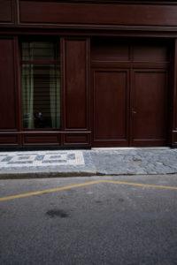 Europe, Czech Republic, Prague, street, house, facade, detail, closed wooden door