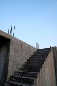Europe, Greece, Corfu, unfinished building, exterior stair,