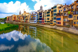 Colourful facades above Onyar River, Banyoles, Catalonia, Spain
