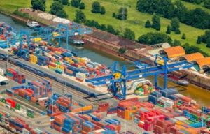 Aerial view, Port of Duisburg, logistics location Logport 1, Duisburg Rheinhausen, container port, Rhine, Rheinhausen, Duisburg, Ruhr area, North Rhine-Westphalia, Germany