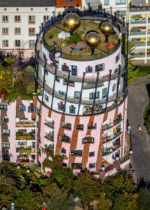 Aerial shots, 'Grüne Zitadelle', Hundertwasser House, ART HOTEL of Magdeburg, Magdeburg-Altstadt, Magdeburg, Saxony-Anhalt, Germany
