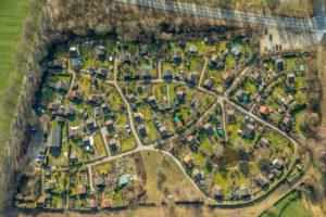 Aerial view, allotment garden in Pinnfeld, Kirchhellen, Hardinghausen, Bottrop, Ruhr area, North Rhine-Westphalia, Germany