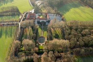Aerial view, Castle Haus Borg, Rinkerode, Drensteinfurt, Münsterland, North Rhine-Westphalia, Germany