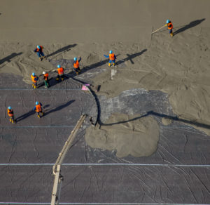 Aerial view, concrete pouring, concrete workers in Herne, concrete work, industrial area Area 1 of the former mine Our Fritz in Herne, Herne, Ruhr area, North Rhine-Westphalia, Germany