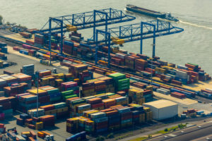 Aerial view of the container warehouse and transshipment point in port area logport II in Duisburg in the Rhine-Ruhr Metropolitan Region in the state of North Rhine-Westphalia, Germany