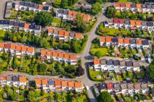 Aerial view of the residential area Deventerweg and Goldschmiedeweg in Soest in the Soester Börde, in the federal state of North Rhine-Westphalia in Germany, Soester Börde, Europe,