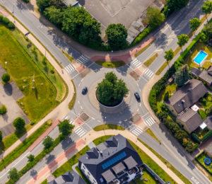Aerial view from the roundabout Paradieser Weg, Ardeyweg and Senator-Schwartz-Weg in Soest in the Soester Börde, in the state of North Rhine-Westphalia in Germany, Soester Börde, Europe,