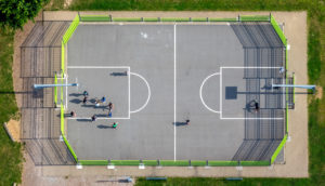 Aerial view of the volleyball court at the playground Herz-Adolf-Weg in Soest in the Soester Börde, in the federal state North Rhine-Westphalia in Germany, Soester Börde, Europe,