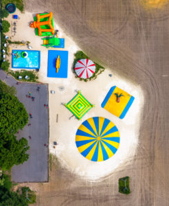 Aerial view of the grounds of the amusement park Maize Labyrinth Terhardt in Haltern am See in the Hohe Mark-Westmünsterland Nature Park in the state of North Rhine-Westphalia, Germany