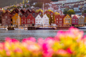 Colorful row of houses in the harbor of the city Bergen, sailing ships, Hordaland, Norway, Scandinavia, Europe