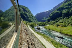 Journey with the Flambahn, Eisenbahnreise, view from Flåmsbana, Ryavegen, mountains, forests, meadows, blue sky, Flåm, Sogn og Fjordane, Norway, Scandinavia, Europe