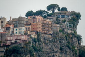 Residential houses on the mountain slope, Taormina, Southern Italy, Europe, Sicily, Italy