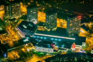 Aerial view, Forum City Mülheim, shopping center, four high-rise residential buildings, Mülheim, Ruhr area, North Rhine-Westphalia, Germany