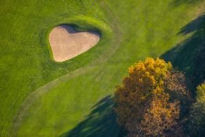 Aerial view, a heart shape on the golf course Sauerland Neheim-Hüsten, Hüsten, Arnsberg, Sauerland, North Rhine-Westphalia, Germany
