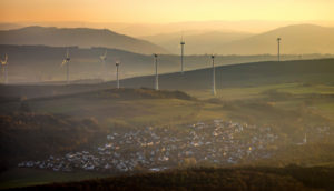 Aerial view, wind turbines, Scharfenberg, hilly landscape, Brilon, Sauerland, North Rhine-Westphalia, Germany