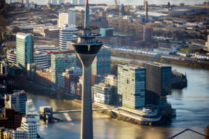 Aerial view, Rhine tower, television tower, Medienhafen, Dusseldorf, Rhineland, North Rhine-Westphalia, Germany