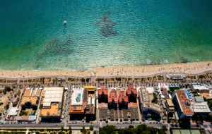 Aerial view, discotheque Upper Bavaria, Ham Street, Beer Street, Arenal Beach with Balneario 5, Balneario 6, Balneario 5, S'arenal, Arenal, Ballermann, Mallorca, Balearic Islands, Spain