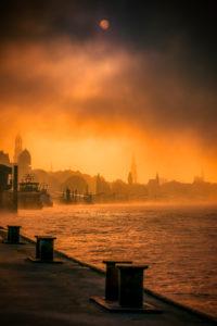 Deutschland, Hamburg, Elbe, Nebel, Seenebel, Hafen, St. Pauli, Landungsbrücken