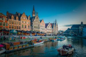 Europa, Belgien, Gent, Stadt, Innenstadt, Altstadt, Grasbrücke, Grasbrug, Graslei, Post Plaza Tower, Gralei, Leie, Leiehafen