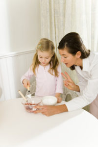 Kitchen, mother, daughter, baking-ingredients, mixes, together, series, people, woman, child, girl, bowls, ingredients, sugar, jam, scrambles, shows, helps, explanation, helps, bakes, cooking, household, interest, development-phase, interior,
