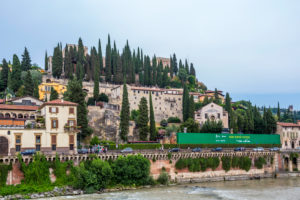 View on the hill San Pietro from the Roman bridge Ponta Pietra, river Adige, Verona, Veneto, Italy, Europe